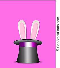 orecchi coniglio, apparire, da, magia, cappello a cilindro, isolato, su, rosa