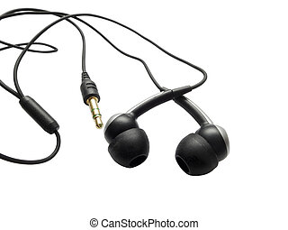 orecchie, telefono, isolato, bianco
