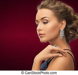 orecchini, anello, donna