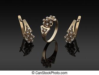 orecchini, anello, oro, diamanti