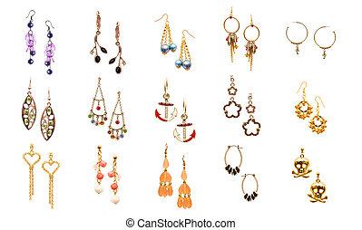 orecchini, bianco, set, vario, isolato