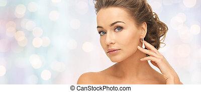 orecchini, donna, diamante