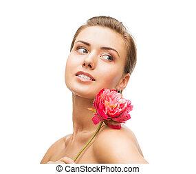 orecchini, donna, diamante, fiore