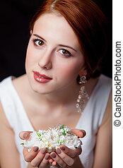 orecchini, fiori, donna, breautiful