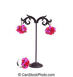 orecchini, flowers., anello, artificiale