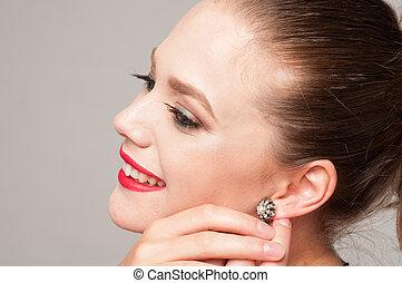 orecchino, ragazza, suo