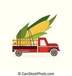 orecchio, concetto, grande, granaglie, indietro, isolato, fondo., camion, automobile, bianco, agricoltura, raccogliere