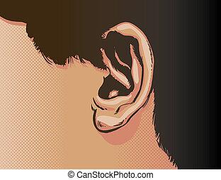 orecchio, primo piano, vettore, illustrazione