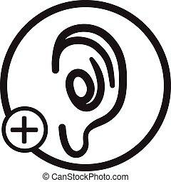 orecchio, simbolo, vettore