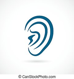orecchio, vettore, icona