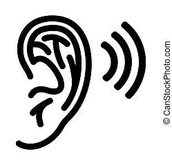 orecchio, vettore, illustrazione