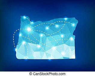 oregón, mapa del estado, polygonal, con, proyectores,...