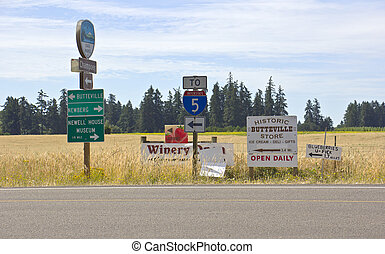 oregon., 谷, 通り, willamette, サイン