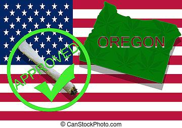 oregon, auf, cannabis, hintergrund., droge, policy., legalization, von, marihuana, auf, usa markierung
