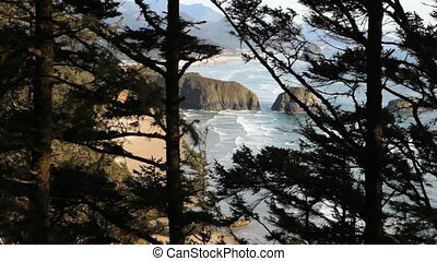 Oregon Coast - View of Cannon Beach, Oregon through the...