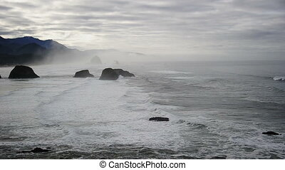 Oregon Coastline - Cloudy Oregon coastline at ,Cannon...