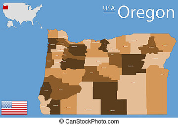 Oregon county map - Detailed map of the State of Oregon with...