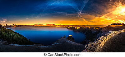 Oregon Landscape Crater Lake Panorama at Sunrise