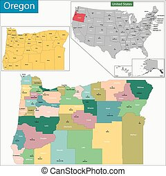 Oregon map - Map of Oregon state designed in illustration...