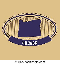 Oregon map silhouette - oval stamp