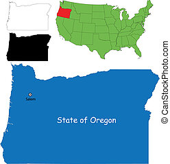 Oregon map on a white background. vector illustration.
