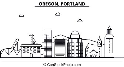 Oregon, Portland architecture line skyline illustration. Linear vector cityscape with famous landmarks, city sights, design icons. Landscape wtih editable strokes