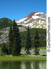Portrait of South sister from Sparks lake.