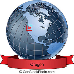 Oregon, position on the globe Vector version with separate layers for globe, grid, land, borders, state, frame; fully editable