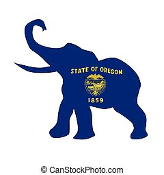 Oregon Republican Elephant Flag