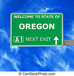 OREGON road sign against clear blue sky