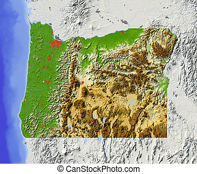Oregon. Shaded relief map, with major urban areas and rivers, surrounding territory greyed out. Colored according to elevation. Clipping path for the state area included.