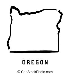 Oregon simple logo. State map outline - smooth simplified US...