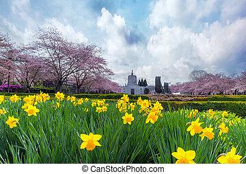 Oregon State Capitol in Spring Season