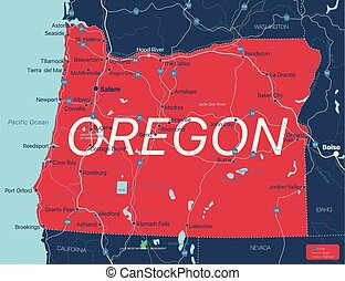 Oregon state detailed editable map