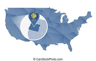Vector Clipart Of Oregon State On USA Map Bordering Map Of USA - Us map that can be colored