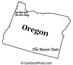 An Oregon state outline with the slogan and motto isolated on a white background
