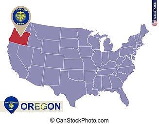 oregon state on usa map oregon flag and map