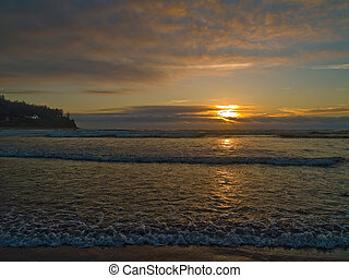 Oregon Sunset 2 - The sun is setting on the beach at Seaside...