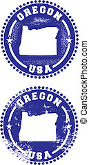 Oregon USA Stamps - A couple of distressed stamps featuring...