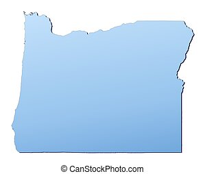 Oregon(USA) map filled with light blue gradient. High...