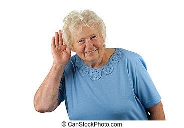 oreille, elle, main, quelque chose, écoute, personne agee, dame