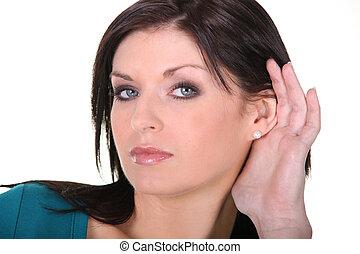 oreille, femme, elle, main