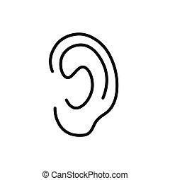 oreille, humain, icône