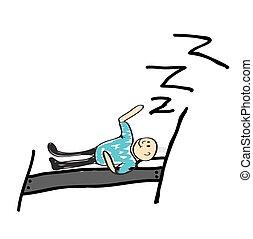 oreiller, illustrateur, rêves, homme