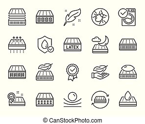 oreiller, matelas, tick., mousse, washable, vecteur, respirable, latex., ligne, icons., mémoire, lit