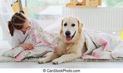 oreiller, peu, mensonge, girl, chien