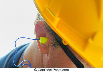 oreja, amarillo, tapón para el oído