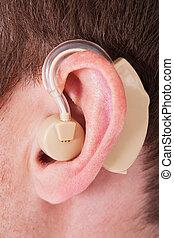 oreja, ayuda, oído, hombre