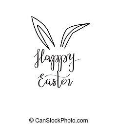 oreja, caligrafía, conejo pascua, feliz