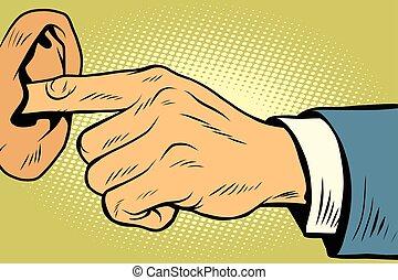 oreja, no, oír, dedo